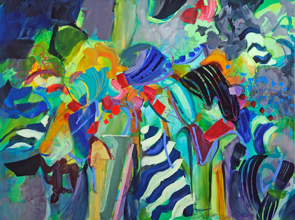Still Life With Blue Stripes. Acrylic and collage on canvas, 36h x 48w, $3600.