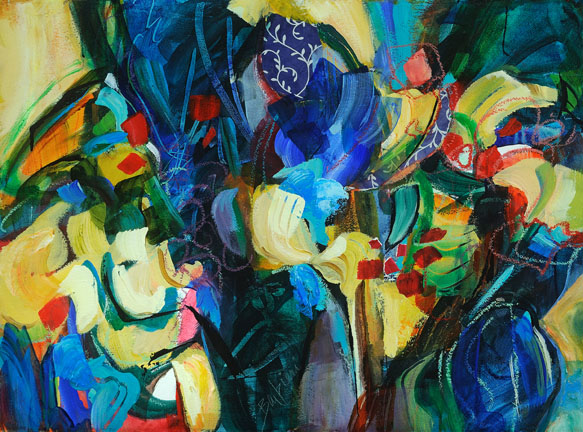 Cool Forest 2. Acrylic and collage on canvas, 33h x 41w, Framed. $1700.