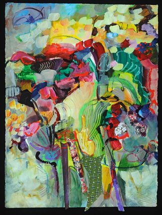 Razzle Dazzle Landscape II. Acrylic and collage on Arches paper, 40h x 32w, $1700.